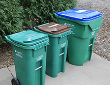 garbage, recycling and organics recycling carts