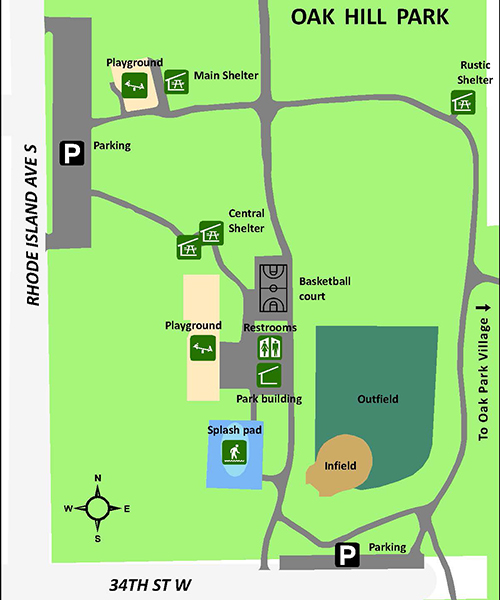 Oak Hill Park map with picnic shelter and building locations