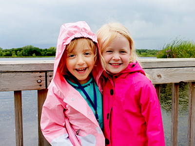 Two girls on dock for tuesday turtles program