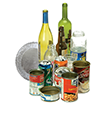 acceptable glass and metal recyclabls - wine bottles, glass jar, cans