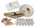 compostable paper items, napkin, plate, egg carton